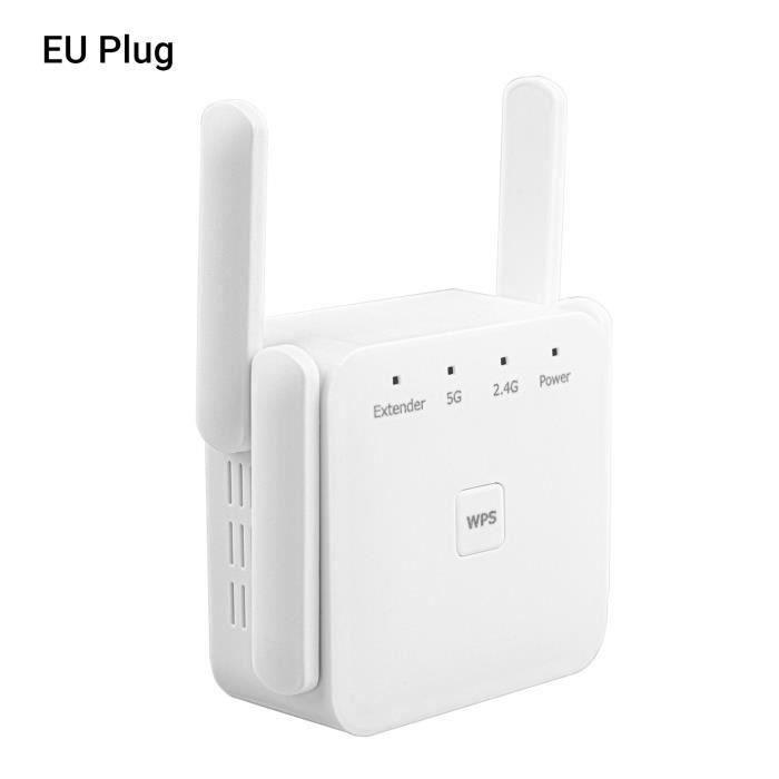 Répéteur sans fil WiFi Amplificateur de signal Internet Amplificateur Booster WiFi Range Extender avec 2,4 et 5,8 GHz double bande