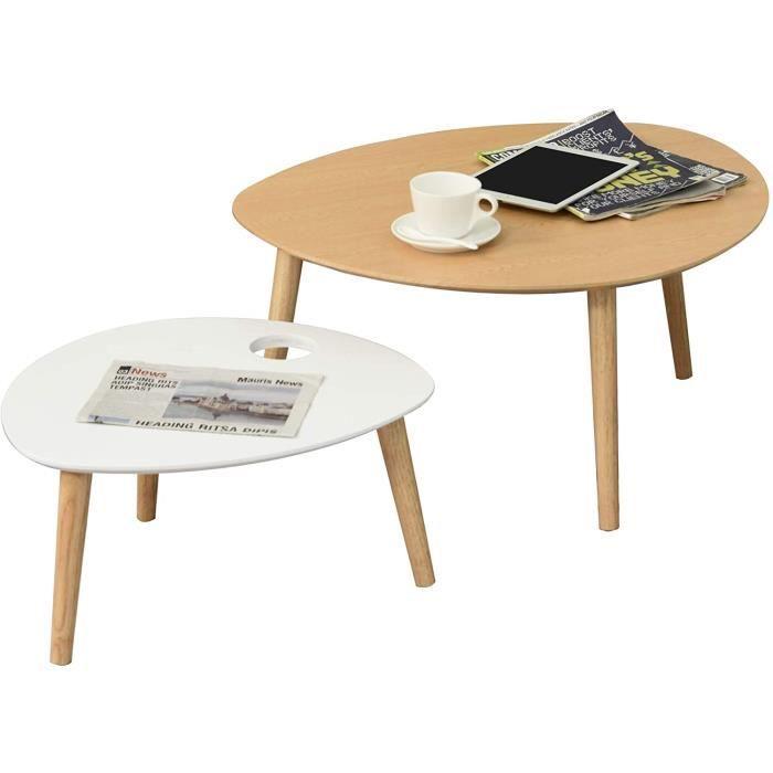 TABLE GIGOGNE HOMCOM Lot de 2 Tables Basses gigognes Design scandinave Bicolore Bois Clair Blanc Pieds effileacutes Bois Massif 66