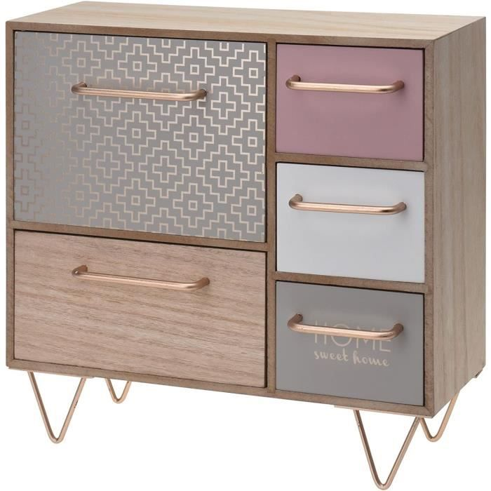 Commode Chambre Gr8 Home Mini Commode en Bois avec 5 tiroirs de Style Shabby Chic-Maison de Campagne - Id&eacuteal pour Ranger 50