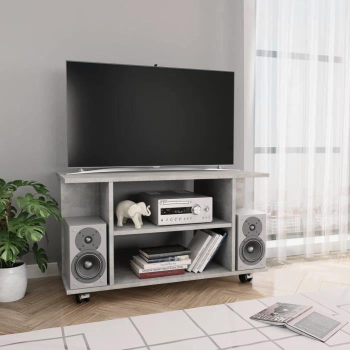 MON Meuble TV avec roulettes pratique Meuble TV robuste pour DVD Gris cement 80 x 40 x 40 cm Aggloméré 1608