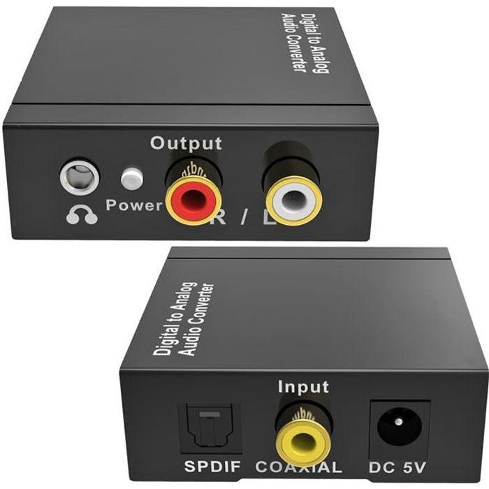 Convertisseur Audio Numérique - Analogique_Toslink Optical Coax vers RCA 3.5mm