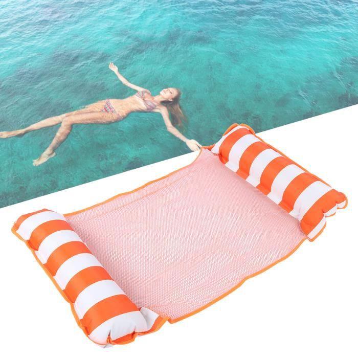 Lit Flottant d'hamac d'eau, Hamac d'eau Gonflable Fainéant Chaise pour la Piscine (orange) -FR STOCK