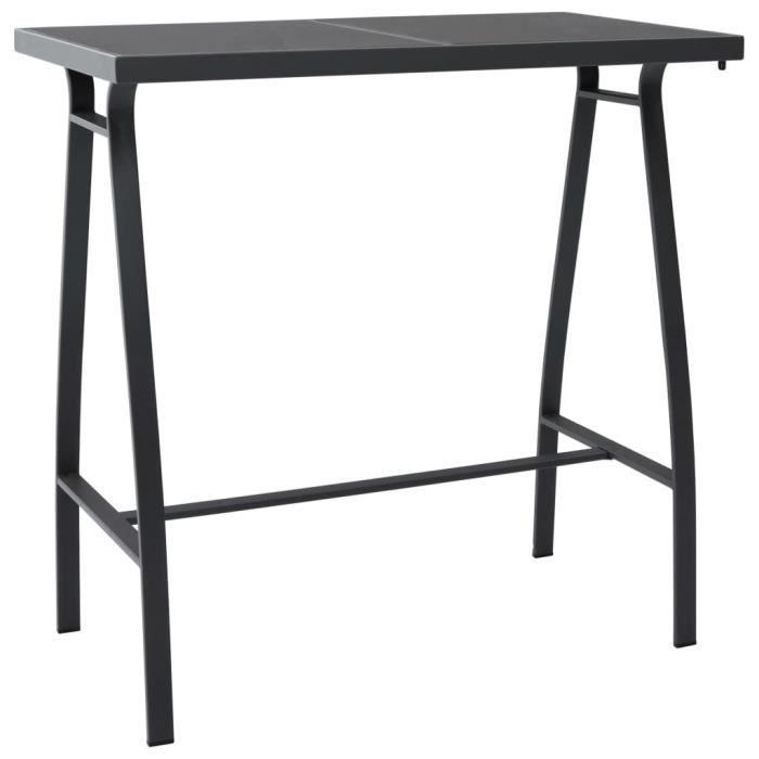 LED✬ Table de bar de jardin Noir 110x60x110 cm Verre trempé