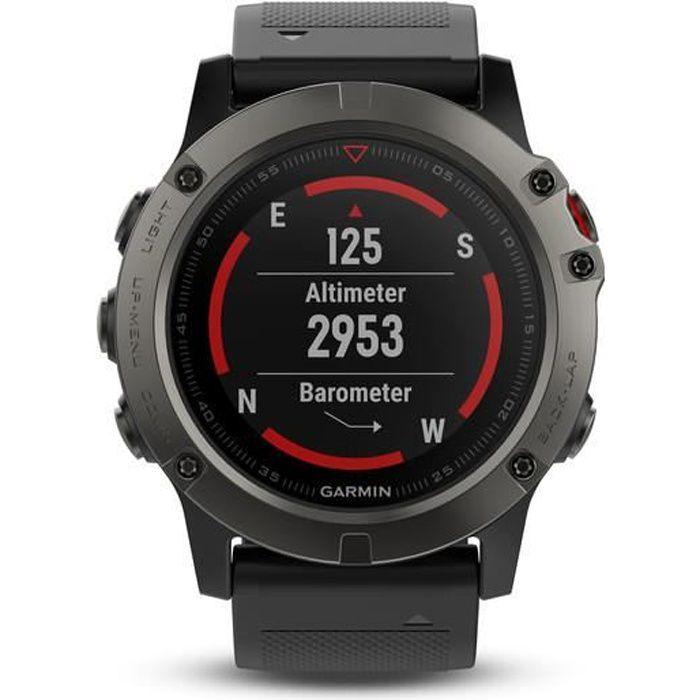 GARMIN Fenix 5X Sapphire Montre GPS Carto - Gris et Noir