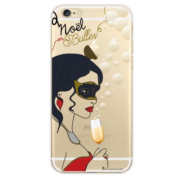 Coque iPhone 6 iPhone 6S rigide transparente Noel en bulles Ecriture Tendance et Design La Coque Francaise