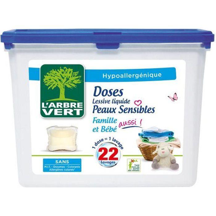 L'ARBRE VERT Doses lessive liquides Peaux sensibles - 22 lavages -  580,8 g
