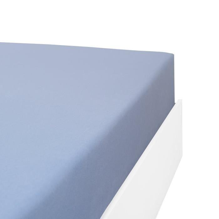 LINANDELLE - Drap housse coton 57 fils en molleton flanelle TOUDOUX - Bleu ciel - 70x190 cm