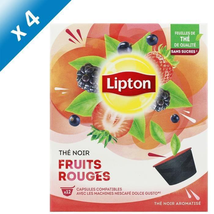 LIPTON Thé Noir Fruits Rouges - Lot de 4 x 12 Capsules