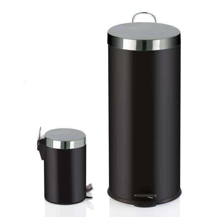 Lot de 2 poubelles noir 30L+3L