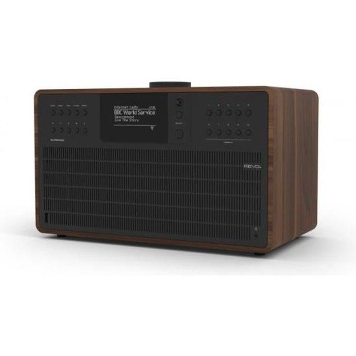 REVO - SUPERCD Radio Réveil matin DAB / DAB+ / FM (RDS) / Bluetooth / Multiroom / Lecteur CD - Noyer / Noir