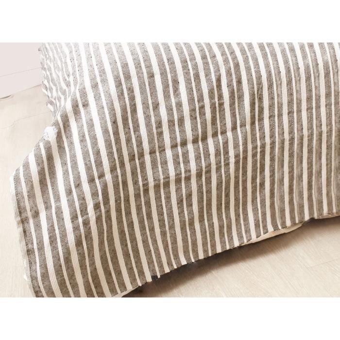 SOLEIL D'OCRE Jeté de canapé cotonnade - 220x240 cm - Taupe