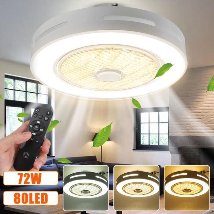 Ventilateur de plafond avec télécommande lumiere plafonnier 72W 80led 4020lm 3 couleurs AC185-250V