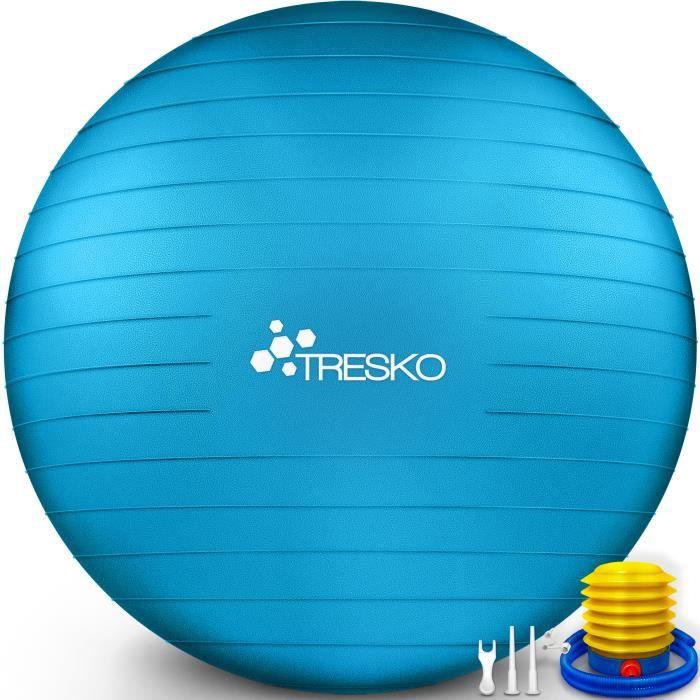 TRESKO Ballon Fitness Yoga Balle d'Exercice Antidérapant Balle Gymnastique avec Pompe 300 kg - avec pompe à air - Bleu - 55cm