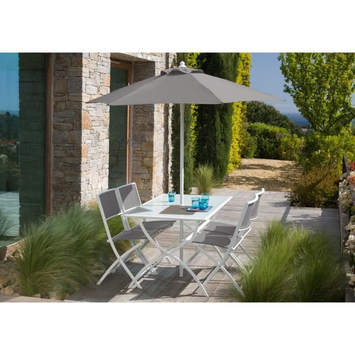 salon de jardin gris galet avec parasol offert achat vente salon de jardin salon de jardin. Black Bedroom Furniture Sets. Home Design Ideas