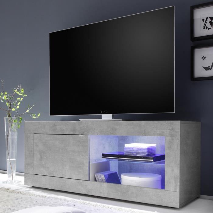 meuble tv lumineux 140 cm design effet beton gris