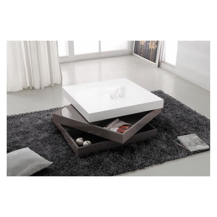 Table basse carr e pivotante coloris gris gris fonc et - Table basse carree blanc laque ...