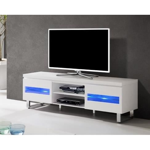 meuble tv blanc laqu led int gr et pied chrom achat. Black Bedroom Furniture Sets. Home Design Ideas