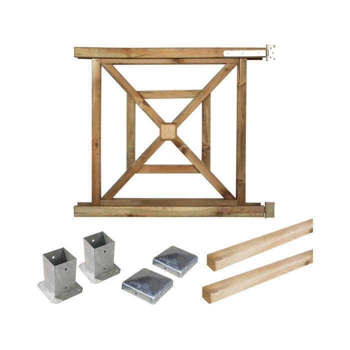 Portillon kit en bois b gonia fixer achat vente for Portillon en bois