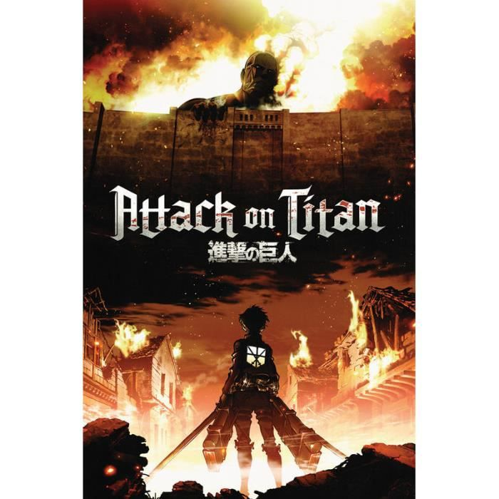 poster xxl l 39 attaque des titan attack on titan manga anim achat vente affiche cdiscount. Black Bedroom Furniture Sets. Home Design Ideas