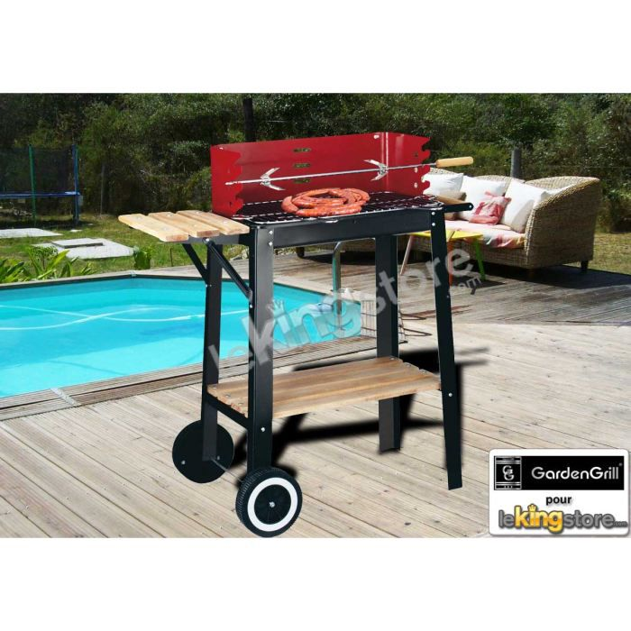 barbecue bois red line chariot avec tourne broche achat vente barbecue barbecue bois red. Black Bedroom Furniture Sets. Home Design Ideas