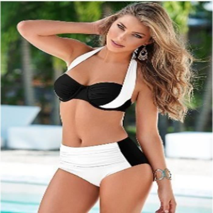 maillot de bain femme grande taille sexy bikini rose blanc achat vente maillot de bain. Black Bedroom Furniture Sets. Home Design Ideas