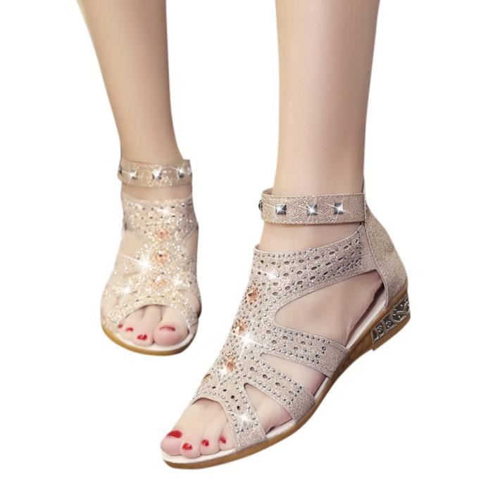 Spring Shoes Femmes Wedge Ladies Sandals Beige Hollow Summer Fashion Fish Roma Mouth qrvqx5Fntw