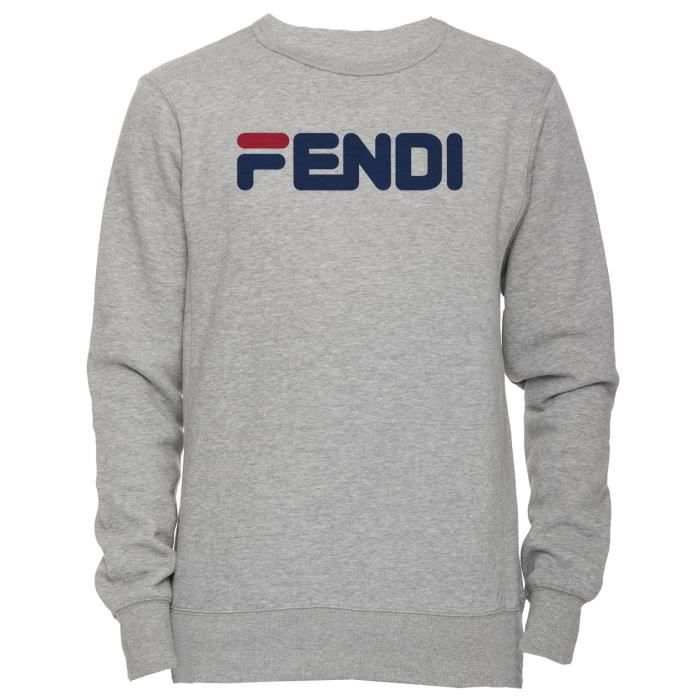 ced5ed3c3cde Fendi Unisexe Homme Femme Sweat-shirt Jersey Pull-over Gris Manches ...