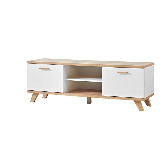 meuble tv oslo ch ne blanc achat vente meuble tv. Black Bedroom Furniture Sets. Home Design Ideas