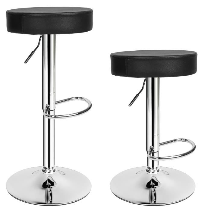 tabouret de bar lot de 2 tabouret de bar design chaise de bar noir tectake pivotant et. Black Bedroom Furniture Sets. Home Design Ideas