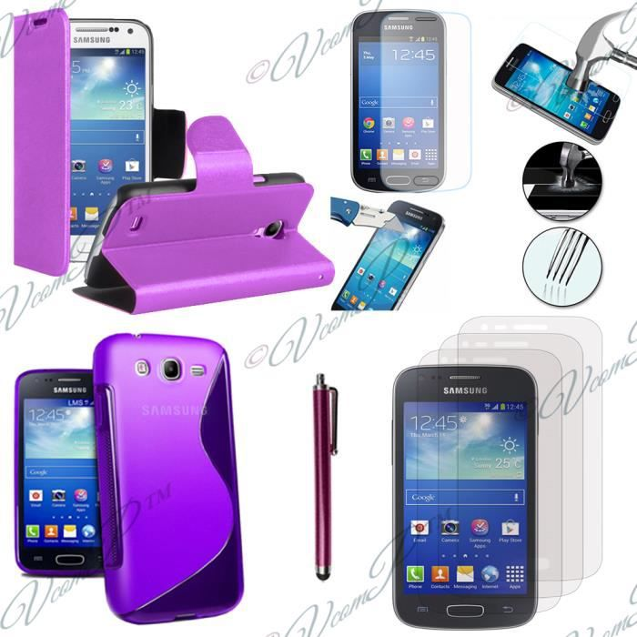 pour samsung galaxy trend lite s7390 galaxy fresh duos s7392 violet lot coque etui housse. Black Bedroom Furniture Sets. Home Design Ideas