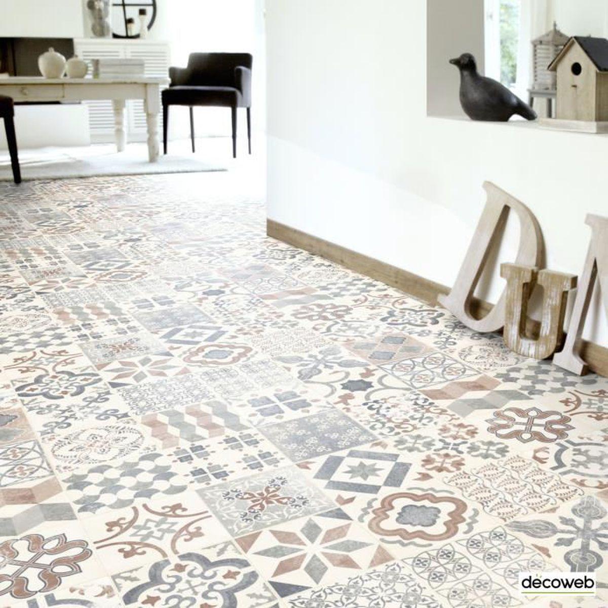 9 x 9m - Sol PVC Lino - Imitation Carreaux de ciment naturel