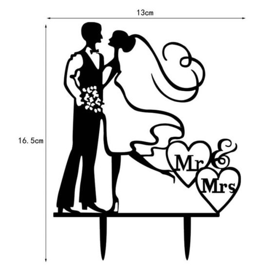 Karens Cake Toppers D/écoration de g/âteau de mariage Bouledogue fran/çais Mr et Mrs avec d/écoration de g/âteau de mariage Motif bouledogue fran/çais 986