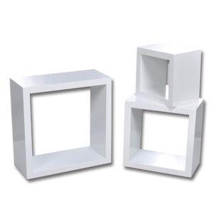 CASIER POUR MEUBLE Magnifique Etageres Design Murale 3 Cubes blanc