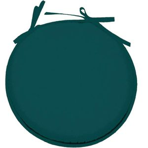 COUSSIN DE CHAISE  Galette de chaise Bleu Canard ronde en polyester