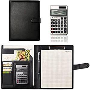 avec bloc-notes de taille lettre. Conf/érencier A4 en polyur/éthane noir avec calculatrice et support pour bloc-notes organiseur de documents A4 et porte-cartes de visite