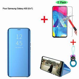HOUSSE - ÉTUI Bleu Etui Coque Samsung Galaxy A50 Clear View Etui
