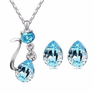 PARURE Parure Bijoux Chat Cristal Swarovski* Turquoise Pl