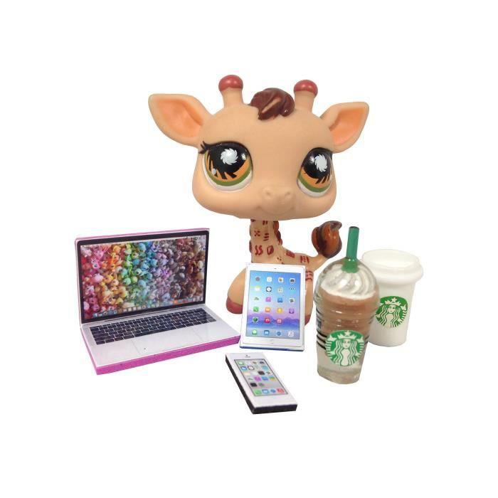 Lps Accessoires Starbucks Littlest Pet Shop 5 Pc. Lot Set: Ordinateur portable, tablette, téléphone, + 2 Starbucks Pe FMHCF