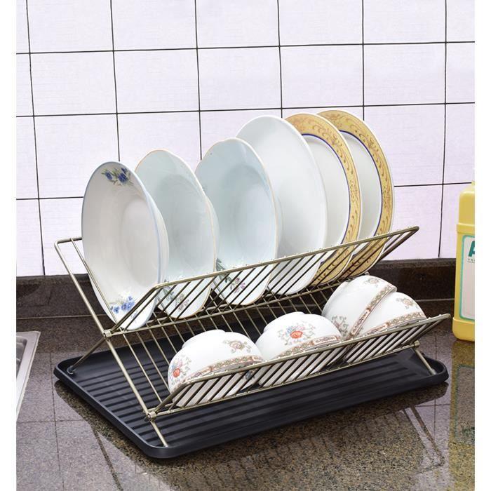 Égouttoir à vaisselle pliable et durable 2 niveaux métal pliable