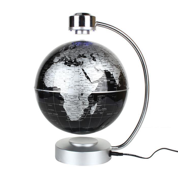 La Lévitation magnétique carte du monde flottant, 8- globe en rotation Planète Terre Globe - Noir