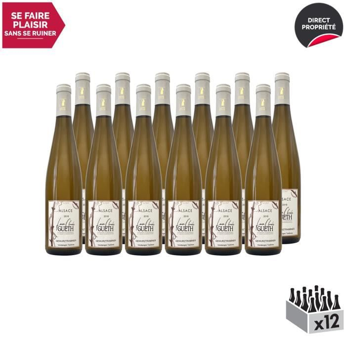 Alsace Douceur Gewurztraminer Vendanges Tardives Blanc 2018 - Lot de 12x75cl - Domaine Gueth - Vin AOC Blanc d' Alsace - Cépage