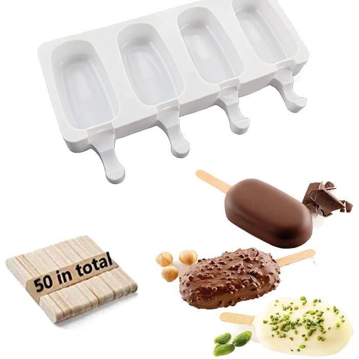 Moulle à Glace en Silicone Moulle à Sucette Chocolat Moulle à Glace Magnum Popsicle Mold 2 moulle glace + 50 bâtonnets en bois