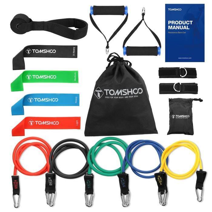 Accessoires Fitness - Musculation,TOMSHOO 17Pc bandes de résistance ensemble exercice bande élastique - Type 17Pcs Set B