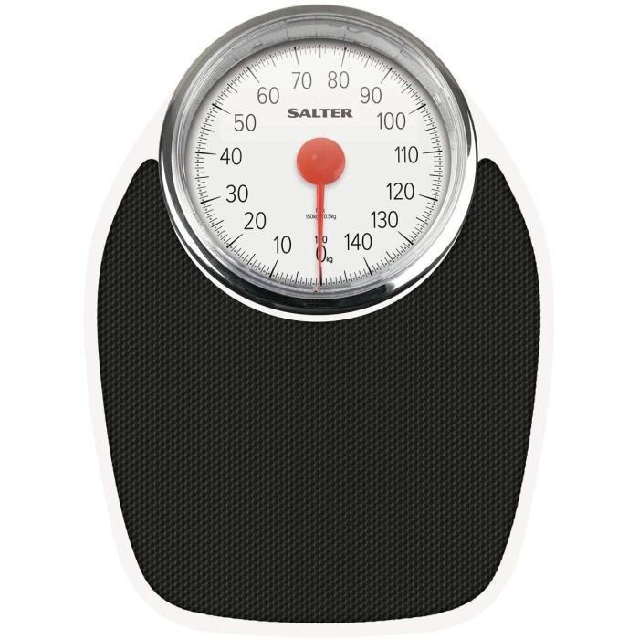 Salter Pèse-Personne Mécanique de Style Docteur - Rétro Blanc + Noir Pesée Précise, Cadran Analogique Facile À Lire, Plateforme En M
