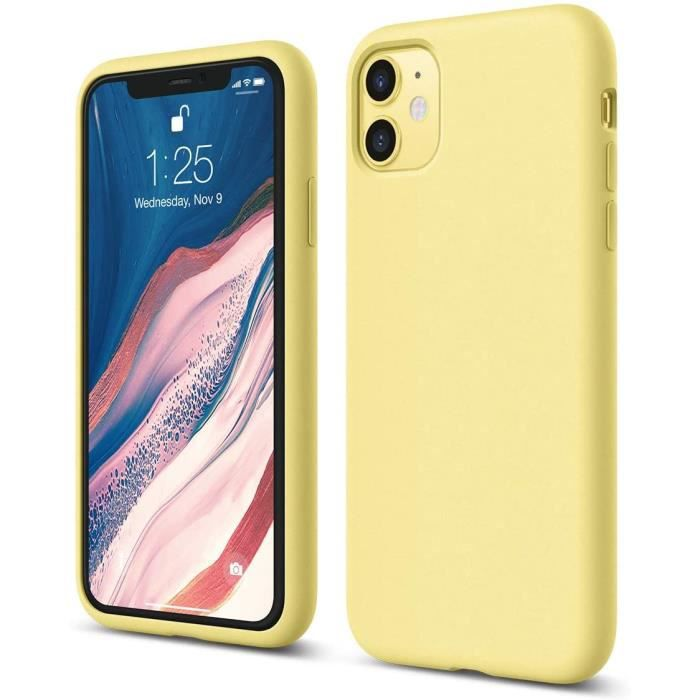 """Coque Silicone Compatible avec Apple iPhone 11 (6.1"""") Raised Lip pour Écran & Caméra, Protection Complète du Corps, (Jaune)"""