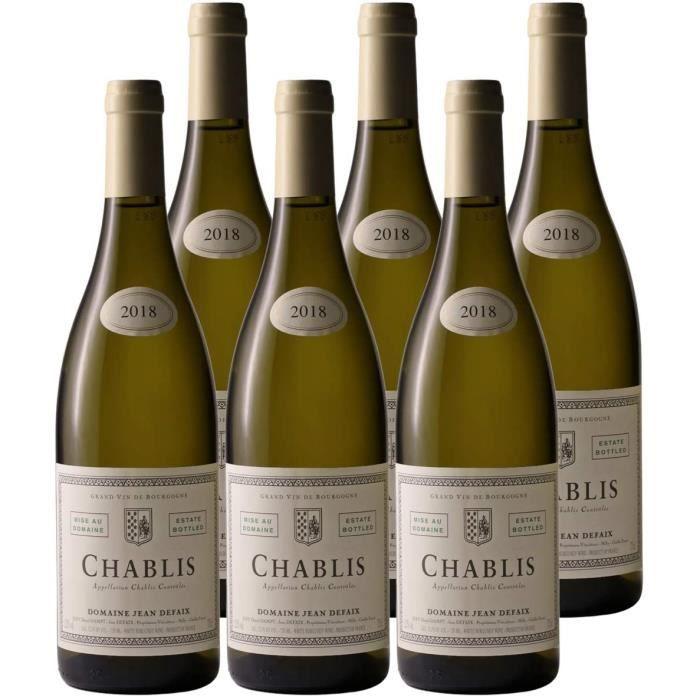 Chablis Blanc 2018 - Domaine Jean Defaix - Vin AOC Blanc de Bourgogne - Lot de 6x75cl - C&eacutepage Chardonnay256
