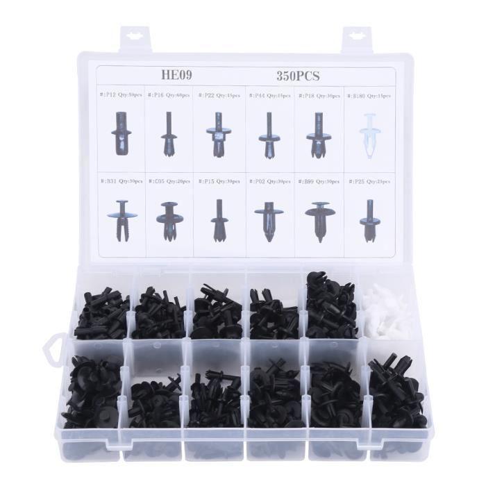 Cikonielf Poussoir 350 pièces assorties corps de voiture en plastique punaise Rivet attaches garniture moulage Clip Kit avec