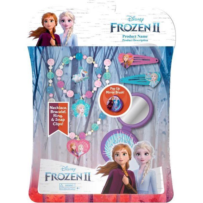Disney La Reine des Neiges Set 6 Accessoires Cheveux avec Brosse 2 Sets de Cosmétique et Bijoux