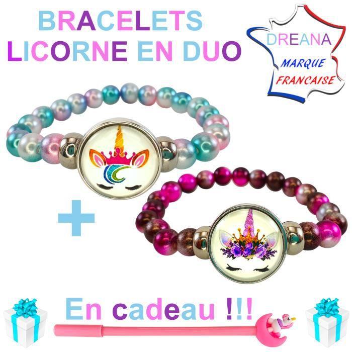 2 jolis bracelets licorne en -perles nacrées- rose /bleu et rose/violet + 1 stylo licorne en cadeau! - PARFAIT POUR FANS DE LICORNE!