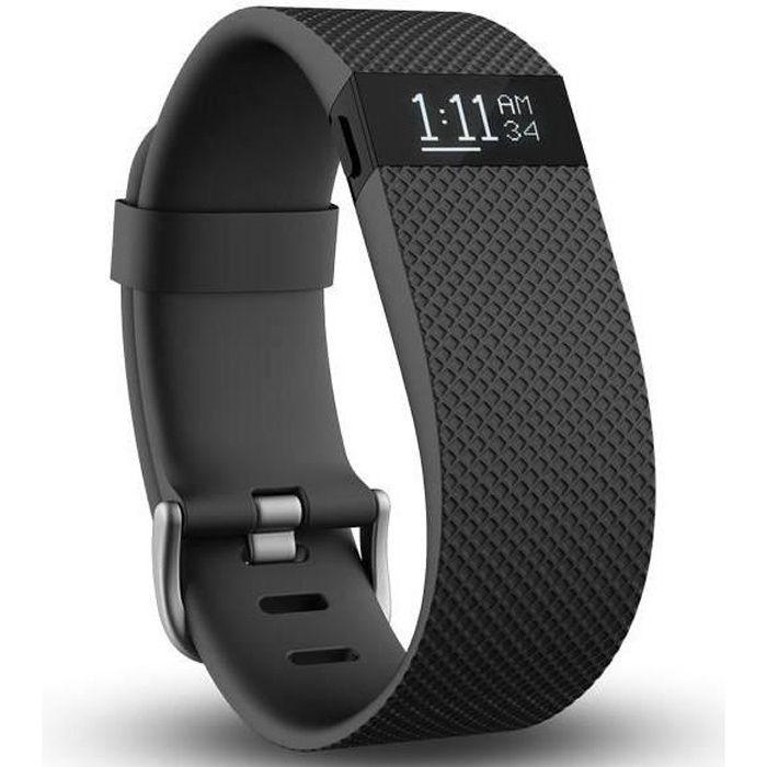 FITBIT CHARGE HR Bracelet connecté pour l'activité et la fréquence cardiaque - Noir - Taille L